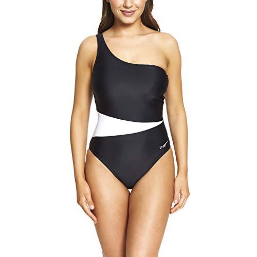 Zoggs Damen-Badeanzug mit Lattice Schultern, Öko-Stoff M schwarz/weiß