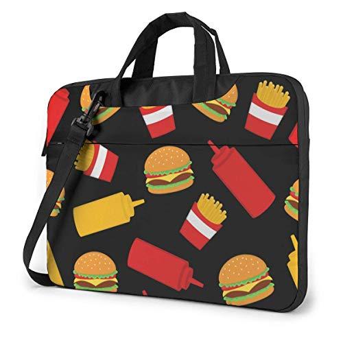 Cartoon Hand gezeichnete Hamburger Pommes Frites Sauce Erwachsene Student 15.6 in Laptoptasche Notebook Schutzhülle Handtasche Umhängetasche