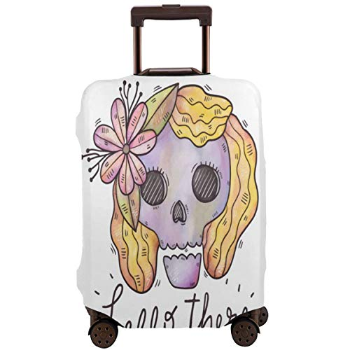 Beauty Skull Travel Luggage Cover DIY Prints Suitcase Protector Suitcase Baggage S Fits 18-21 inch Luggage