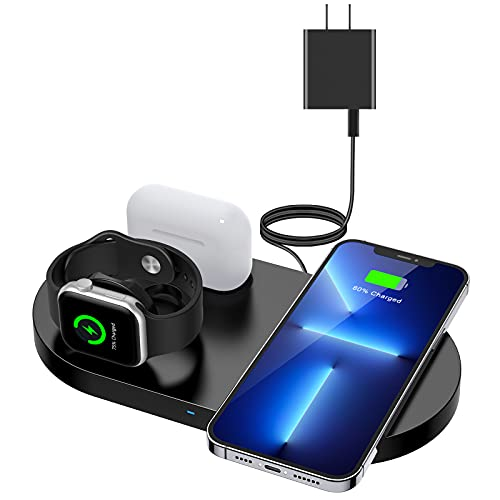 Wireless Charger,ESTAVEL 3 in 1 Fast Wireless Charging Station Compatible with iPhone 13/12/11 Pro/XS/XR/8, Apple Watch 7/6/SE/5/4/3, AirPods 1/2/pro,Wireless Charging pad for Samsung