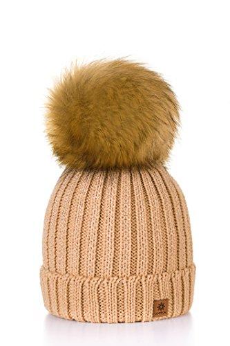 MFAZ Morefaz Ltd Mujer Sombrero De Invierno Cristales Beanie Hat Gran Pom Pom Gorro De Invierno Cálido Forro Polar (Beige)