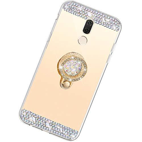 Funda Compatible con Huawei Mate 10 Lite.Espejo Glitter Diamante Anillo Soporte Brillo TPU Transparente Silicona Suave Carcasa Cover Mirror Bling Moda Ultrafino Protective Bumper Case,Oro