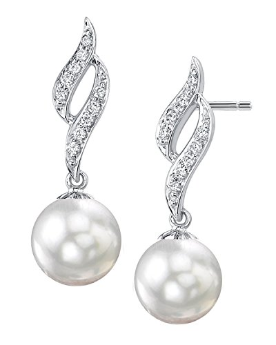 14K oro blanco perla cultivada del Mar del Sur y diamante pendientes de Suzanna