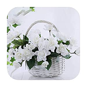 F-pump 1 Bouquet 7 Heads Romantic Artificial Flower Gardenia DIY Silk Flower Fake Flowers for Party Home Wedding Decoration-White-