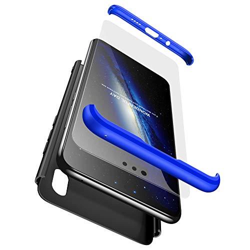 FMPC Hülle Kompatibel mit Xiaomi Redmi S2, 3 in 1 PC Schale Full-Cover Anti-Kratzer 360° Ultra dünn R&umschutz-Schale mit Gratis 3D Panzerglas Handyhülle Schutzhülle Case-Blau Schwarz