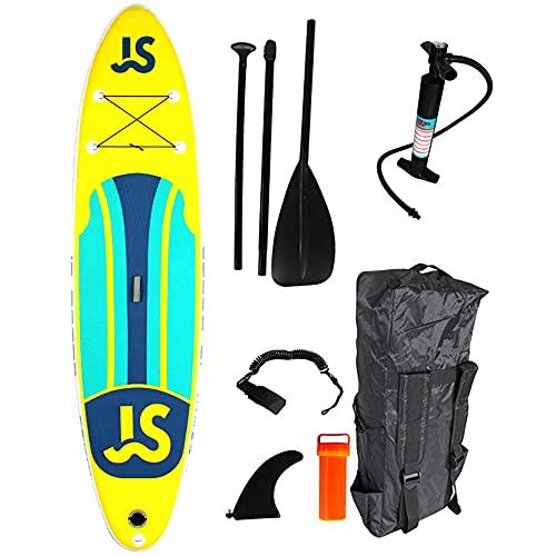 Tabla de Paddle Surf Hinchable Sup 11 '× 32'× 6' Paddleboard con Accesorios ISUP, Tres Aletas, Remo Ajustable, Bomba, Mochila, Correa de Seguridad para el Tobillo