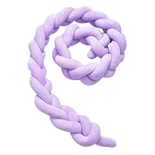 VISTANIA Tissé Oreiller lit circonférence nouée Longue Boule Berceau Coussin Oreiller en Peluche Noeud de bébé décoration de Chambre,Purple,1M
