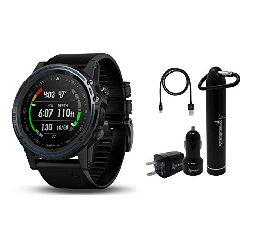 Garmin Descent MK1 Versatile Dive Computer with Surface GPS and Multisport Features and Wearable4U Ultimate Power Pack Bundle (Gray Sapphire with Black Band)