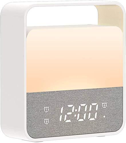 MELCAM LED Nachttischlampe LED Nachtlicht Kinder Digital Wecker Einschlafhilfe Schlaflicht mit Dimmer Touch Sensor USB-Aufladung mit Weckerfunktion für Schlafzimmer Babyzimmer【12 Farbwechsel】