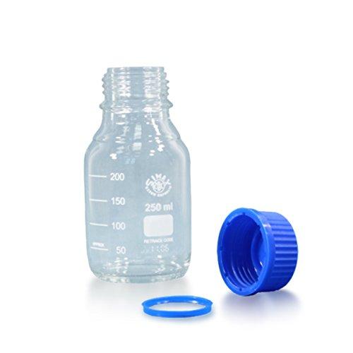 3 x Gewindehalsflasche 250ml aus Borosilikatglas 3.3 inkl. Schraubverschluss und Ausgiessring (blau) - ISO 4796-1 - mit Graduierung *** Gewindeflasche, Laborflasche, Weithalsflaschen, Laborflaschen, Weithalsflasche, Glasflasche, Gewindeflaschen, Laborgewindeflasche, Glasflaschen ***
