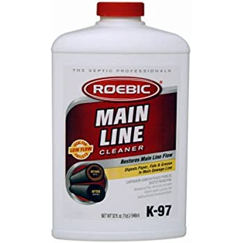 Roebic K-97-Q-4 Laboratories, K-97 Main Line Cleaner, 32-Ounce, Grease in Sewer and Septic Systems, 32 Ounces