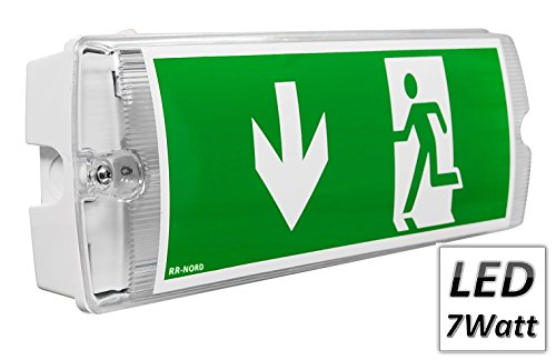 Notleuchte LED IP65 7W Notbeleuchtung Rettungszeichenleuchte Fluchtwegleuchte Notlicht Brandschutzzeichen Rettungszeichen (Pfeil nach rechts)