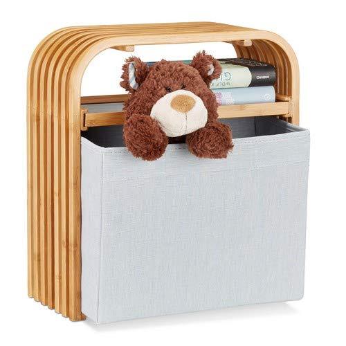 Relaxdays Hocker mit Aufbewahrung, Design Sitzhocker mit Stauraum, schmaler Bambus Holzhocker für die Garderobe, natur