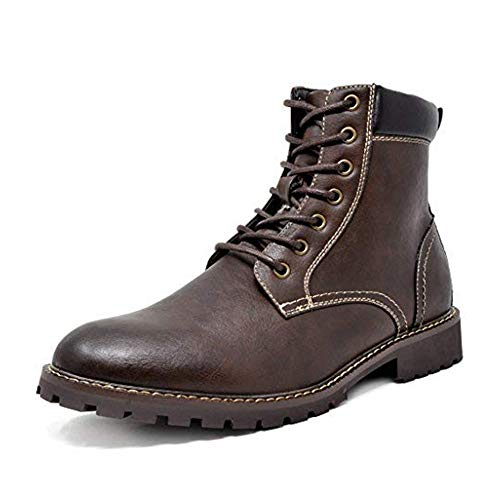 Bruno Marc Men's Dark Brown Oxford Dress Ankle Boots Faux Fur Lining...