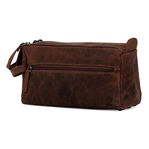 Rustic Town kulturtasche kulturbeutel Mann | Leather Toiletry Bag | Leder Kosmetiktasche Waschtasche Reise-Tasche für Herren (Dunkelbraun)