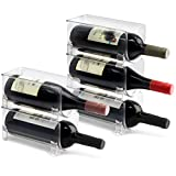 ELTOW Modular Plastic Wine Rack (5-Pack) Stackable Display and Fridge Storage System - Clear, Heavy-Duty PET Plastic - Great for Home Kitchen Refrigerator, Bar, Countertop, or Dining Room Use fridg