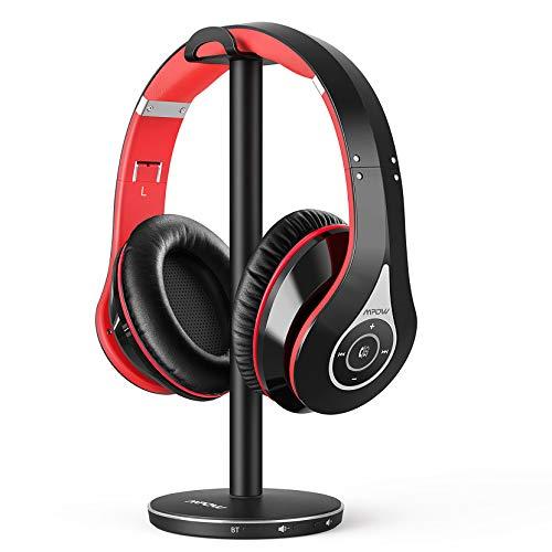 Mpow 059 Cuffie TV Wireless Over Ear, Cuffie Senza Fili con Trasmettitore Bluetooth 5.0, Autonomia 65 Ore, Portata 30 metri, Pieghevole Cuffie TV Stereo con Base di Ricarica, per TV/PC/Ricevitore AV