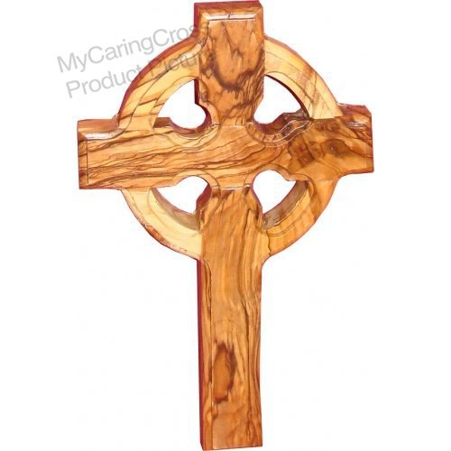My Caring Cross Olive Wood Wall Crosses from The Holy Land (10 Inches, Celtic Wall Cross)