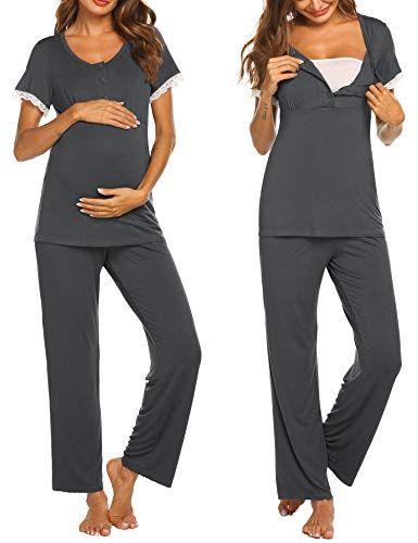 Ekouaer Women's Maternity Nursing Pajamas Set Soft Short-Sleeved Button Tops PJ Pants Sleepwear Set (Dark Grey, Small)