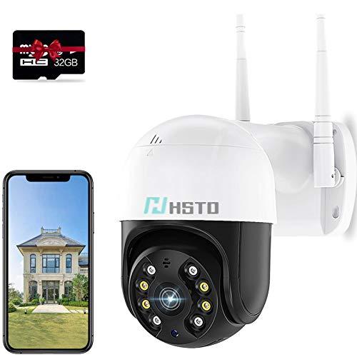 HSTD WiFi Cámara vigilancia Exterior/Interior con Versión Nocturna, Cámara de Seguridad WiFi 1080P, Audio Bidireccional, Detección de Movimiento, Vista Remota, PTZ Cámara en Domo con Tarjeta SD de 32
