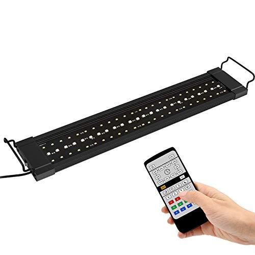 NICREW LED RGB Luce dell'Acquario, 24/7 Illuminazione LED per Acquario, Lampada della Pianta Acquario con Telecomando, Luce LED Acquario per la Crescita delle Piante 55-88 cm, 18W