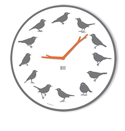 KOOKOO UltraFlat Grau, Moderne Singvogeluhr mit 12 heimischen Vögeln und echten, natürlichen Vogelstimmen, plakatives Zifferblatt, Wanduhr mit Lichtsensor