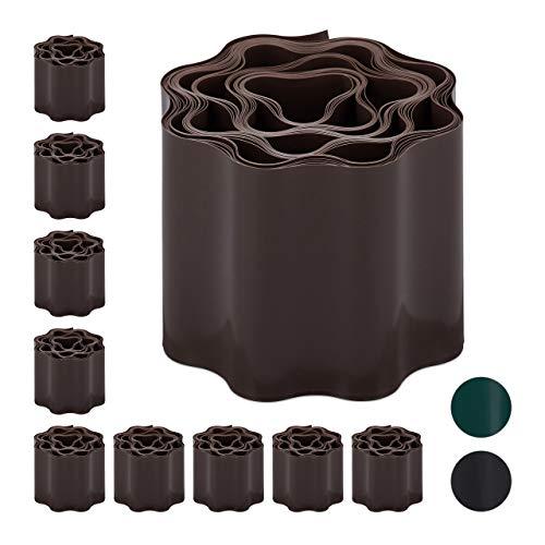 Relaxdays 10 x Flexible Rasenkante, wellige Beeteinfassung aus Kunststoff, Umrandung für Rasen & Beet, HT: 10 x 900 cm, braun