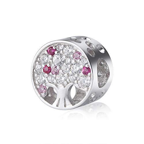 EvesCity - Abalorio de plata de ley 925 con diseño de árbol de la vida, color rosa