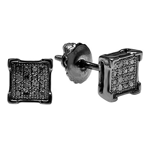 Dazzlingrock Collection 0.10 Carat (ctw) Round Black Diamond V-Prong Mens Stud Earrings 1/10 CT, 925 Black Rhodium Plated Sterling Silver