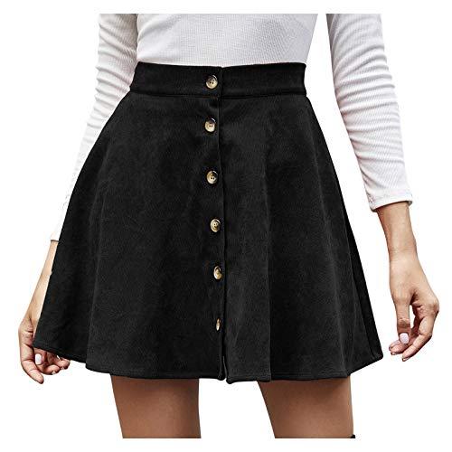 Lenfeshing Minifalda de Pana de Cintura Alta de Color Sólido para Mujer Falda Plisada de Botonadura Sencilla
