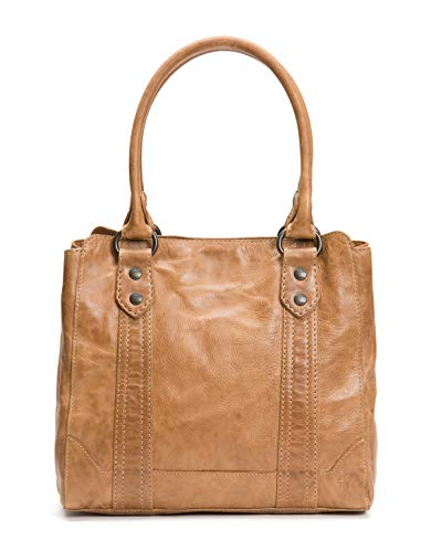 Antique pull up leather shoulder tote bag from Frye's best selling Melissa collection center zip divider, 1 interior zip pocket, 2 interior sleeve pockets Measurements: 13 inches W X 12 inches H X 6 inches D, shoulder drop 9 inches