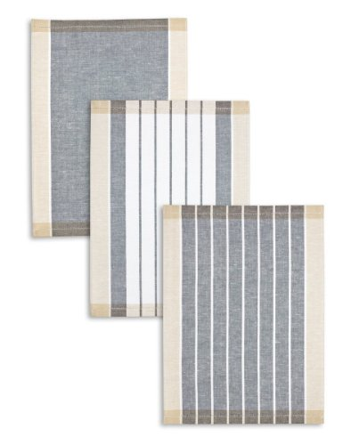 Kracht 3-er Pack Jacquard Geschirrtuch, Halbleinen, Streifen sortiert, anthrazit-schwarz-beige, 50x70cm