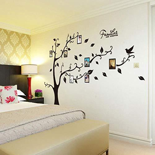 GCCQT Zwarte grote boomfotolijst, waterdichte muursticker, afneembaar muurstickers, moderne muurdecoratie, stickers uitgangsdecoratie, kan als verjaardagscadeau worden gebruikt