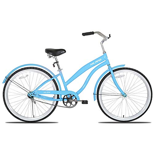 Hiland Women's Beach Cruiser Bike with Wide Seat, 26'' Inch Cruiser Bicycle for Women,Urban Lady Comfort Commuter Bikes Blue