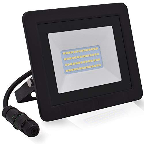Lumare LED Strahler 20W Extraflach Flutlicht IP65 3000k für außen und innen inkl. IP68 Stromverbinder warmweiß Außenstrahler Außenleuchte Flutlichtstrahler Garten Gartenlampe LED-Strahler wasserdicht