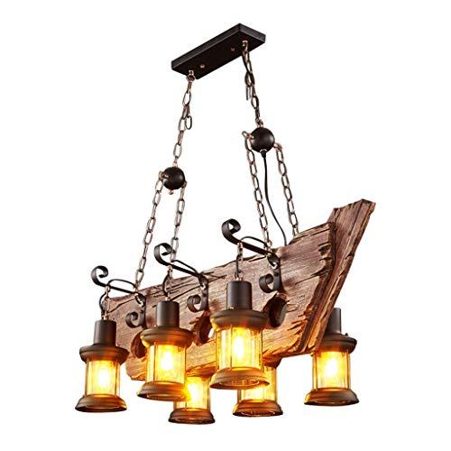 XZGang Houten Make oude kroonluchter, Explosion Proof Glass Cover hanglamp themarestaurant Zolder hanglamp E27 Soft Light plafond verlichting Binnenverlichting (Size : 90 * 45CM)