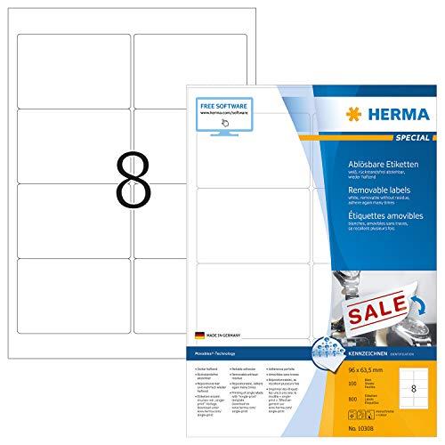 HERMA 10308 Universal Etiketten DIN A4 ablösbar, groß (96 x 63,5 mm, 100 Blatt, Papier, matt) selbstklebend, bedruckbar, abziehbare und wieder haftende Adressaufkleber, 800 Klebeetiketten, weiß