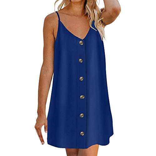 iYmitz Damen Sommer Minikleid Strand ärmellos lässig Einfarbig Freizeit Rückenfreies Kleider mit...