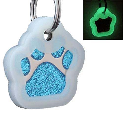 io tags Pet ID Tags, Personalized Dog Tags and Cat Tags, Custom Engraved, Easy to Read, Cute Glitter Paw Pet Tag (Turquiose + Silencer)