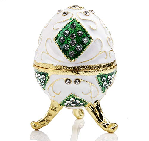 Small Faberge Egg Jewelry Box Hinged Trinket Box For Ring Gift Easter Decorations