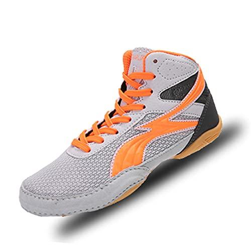 WJFGGXHK Zapatos de boxeo de lucha libre, transpirables, Taekwondo calzado deportivo antideslizante para adultos y niños, color gris, 33