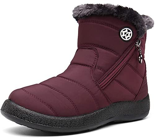 Damen Winterstiefel Wasserdicht Warm gefütterte Schneestiefel Winterschuhe Winter Kurzschaft Stiefel Boots Schuhe Weinrot 38 EU