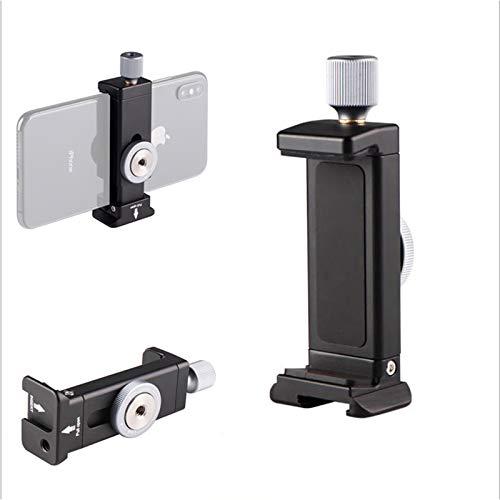 FOTOBETTER Soporte de teléfono para trípode, pinza adaptadora con soporte para zapata fría, aluminio universal, pinza de teléfono ajustable para trípode Smartphones