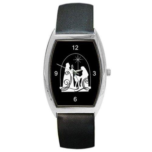 Weihnachten,Krippe in Silhouette auf eine Damen Lauf Armbanduhr mit Leder Band