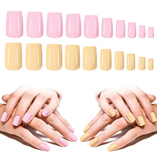 Medium Square Press On Nails, 200PCS Cosics 2IN1 Solid Colored Glossy Square Acrylic Nails Full Cover with Storage Organizer, 10 Size Beige & Pink Artificial False Nail Art Tips for Women Salon DIY