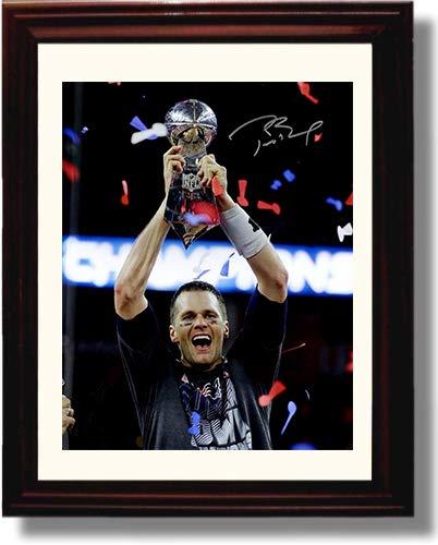 Framed Tom Brady Autograph Replica Print - Trophy Celebration