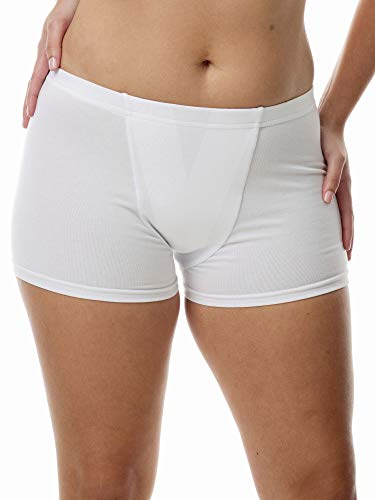 Vulvar Varicosity and Prolapse Support Boy-Leg Brief with Groin Compression Bands and Hot/Cold Therapy Gel Pad - White - Large