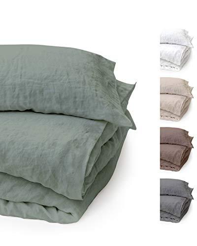 BLUE MOON Leinenbettwäsche Stone-Washed, 2-teilig, sehr hochwertige Bettwäsche aus 100% Naturfaser Leinen, Normalgröße, Standardgröße, mit Hotelverschluss, Made in EU (grün, 135 x 200+80 x 80)