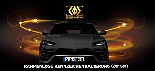 SIGMAPHI Rahmenlose Klett Kennzeichenhalter Set – Auto Nummernschildhalterung - Klettverschluss Nummernschild rahmenlos - selbstklebendes Kfz Klettband - Halter selbstklebend für EU Autokennzeichen