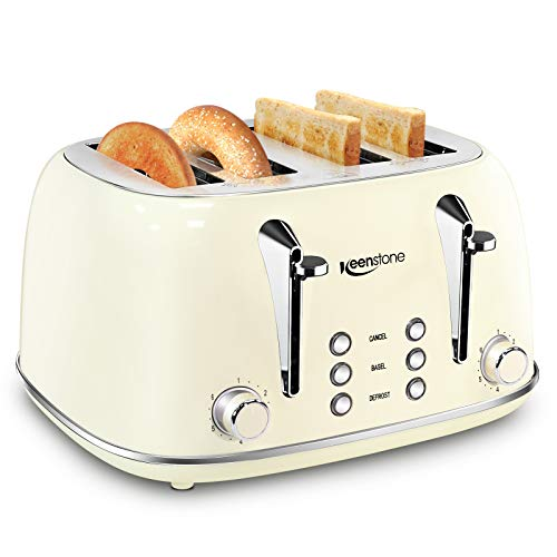 Toasters 4 Slice, Keenstone Retro Stainless Steel Bagel Toaster with Wide Slots, Cream